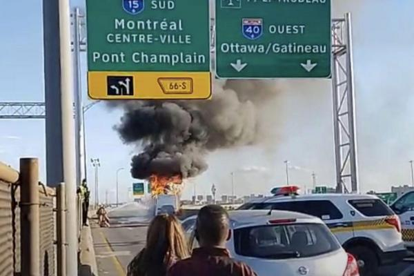 RV goes up in flames on Highway 40; both directions blocked