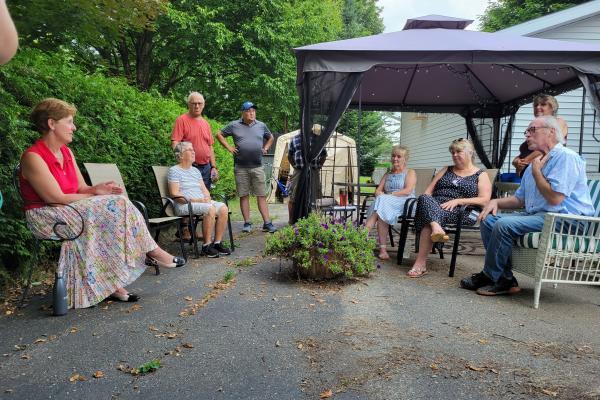Bibeau given backyard briefing on Bill 96 concerns