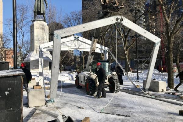 An overnight warming tent for the homeless in Cabot Square is opening