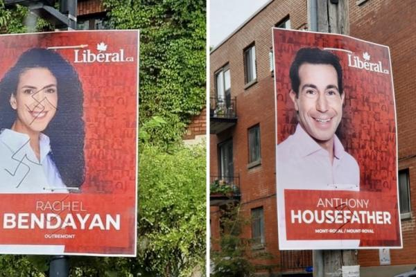 Party leaders react to antisemitic vandalism on Montreal campaign signs