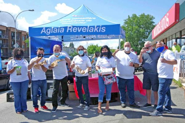 Hot dogs were on the menu at Aglaia Revelakis's summer BBQ event