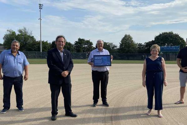 Inauguration of the Larry-Bélisle baseball field at Clair Matin park