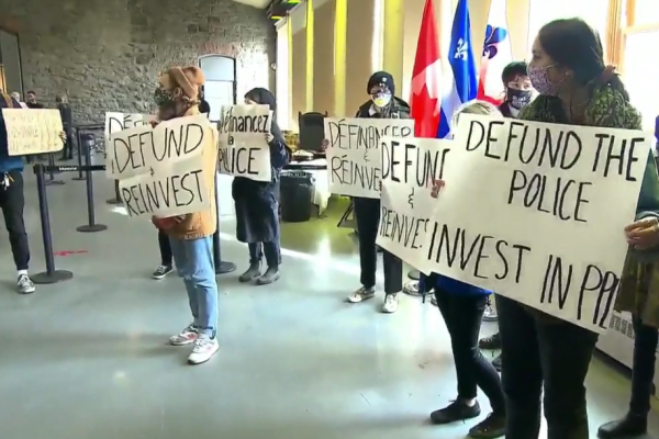 City of Montreal press conference crashed by Defund the Police Coalition